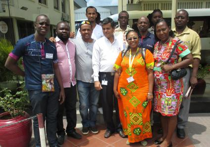 IPEN African Lead Paint Elimination Partners at paint factory visit in Tanzania, November 2014