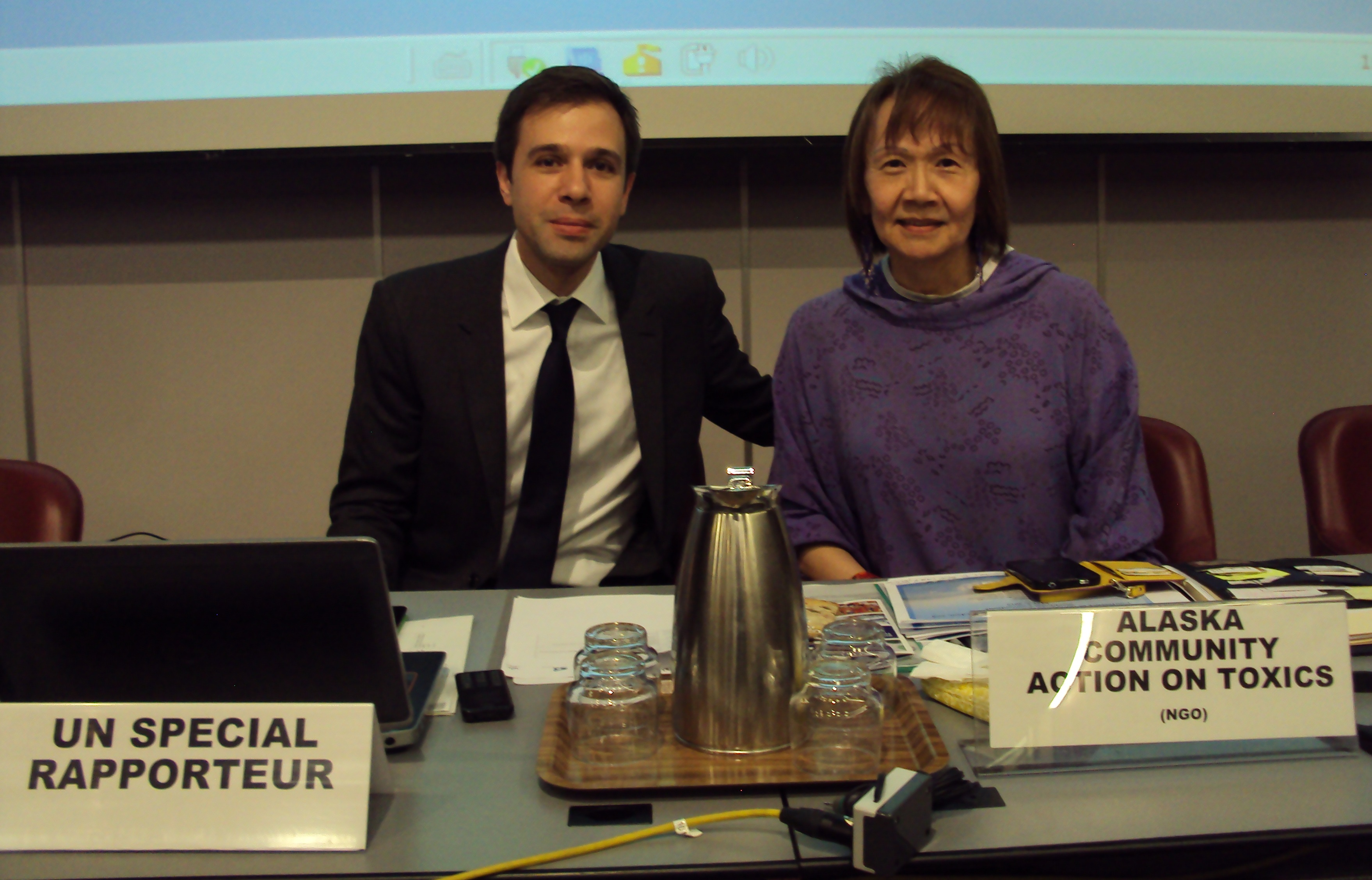 Baskut Tuncak and Vi Waghiyi at human rights side event